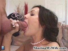 Sexy wife Brandi were very curious about having sex with a well hung stud and make her husband watch on this.